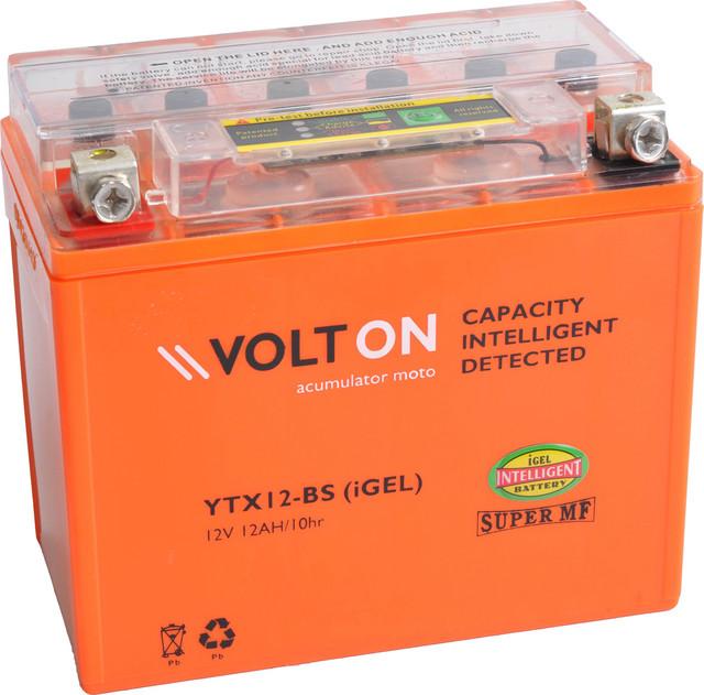 Baterie moto VoltON 12V 12 Ah (YTX12-BS). iGEL